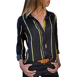 Aleumdr Mujer Ropa de Lino Vestido de Mujer a Rayas Blusa de Trabajo con Botón Casual Amarillo Size L