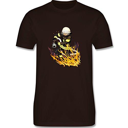 Feuerwehr - Cooler Feuerwehrmann - Herren Premium T-Shirt Braun