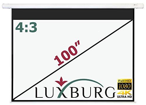 """Luxburg Motor Leinwand 203x152 cm (Diagonale ca. 100\"""" Zoll / 254 cm) Full HD 3D Beamer Leinwand elektrisch mit Fernbedienung - zur Deckenmontage/Wandmontage, mattweiße Oberfläche, Modell 2015"""