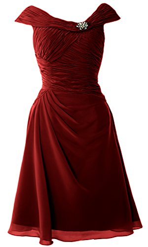 MACloth Cap Sleeves Boat Neck Cocktail Dress Short Mother of the Bride Dress Burgundy