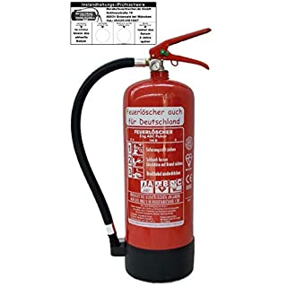 Feuerlöscher 6kg ABC Pulverlöscher mit Manometer EN 3 , Prüfnachweis mit Jahresmarke , Messingarmatur Sicherheitsventil , ( Mit Kunststoffstandfuß Ohne Wandhalter mit Prüfnachweis U. Jahresmarke )