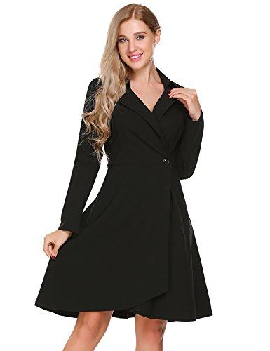 ACEVOG Damen Herbst Vintage Kleid V-Ausschnitt Abendkleid 50er Retro Cocktailkleid Hemdkleid Trenchcoat Mantel Langärmlig Revers Jacke Outwear Schwarz