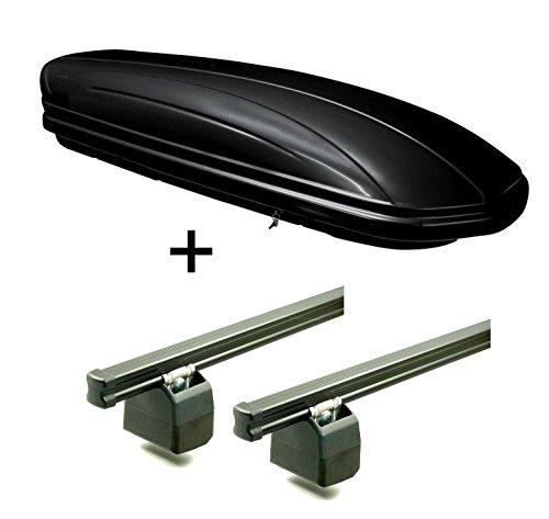 Dachbox 320 Liter abschließbar schwarz VDPMAA320 + AURILIS PRO Dachgepäckträger kompatibel mit FIAT Ducato ab 2006