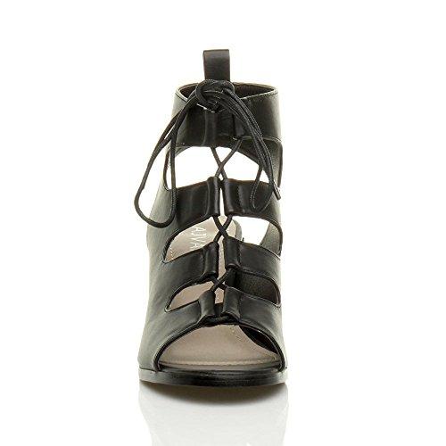 Damen Hoher Absatz Ausgeschnitten Reimchen Peep toe Stiefeletten Sandalen Größe Schwarz Matt