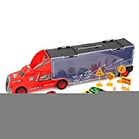 Woyisisi Children Kids Gift Portable Container Truck Toy Simulation Diecast Car Model with 6 Roadblocks