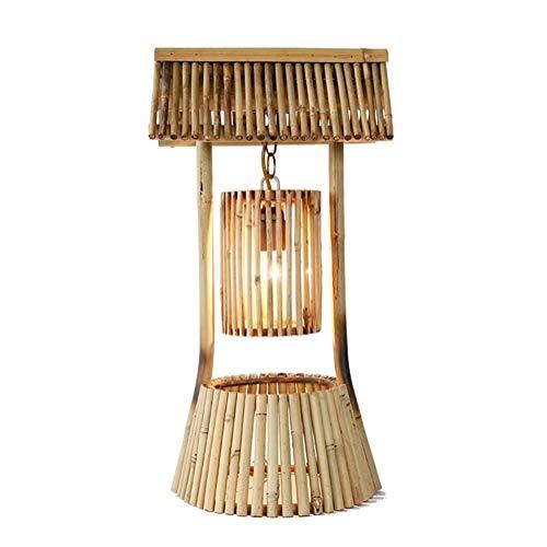 Lampada da tavolo studio ufficio rurale antico sud-est asiatico stile soggiorno comodino lampada da lettura tessitura a mano bambù naturale lampada da scrivania e27 luce con interruttore a pulsante
