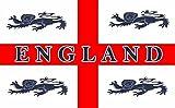 England-Flagge mit 4 Löwen, 152x91cm,100% Polyester,Metallösen,doppelt genäht