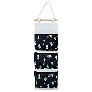Aikesi 1 Piece Cactus Hanging Bag Half Circle Three Pockets Hanging Bag Noir Black