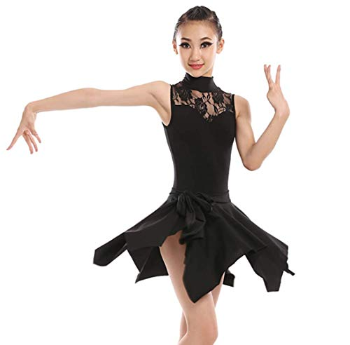 Akrobatik Kostüm - SMACO Kinder Latin Dance Kostüme Weibliche Kinder Latin Dance Kleid Set Performance Akrobatik Tanz Kostümwettbewerb Schwarz,120CM