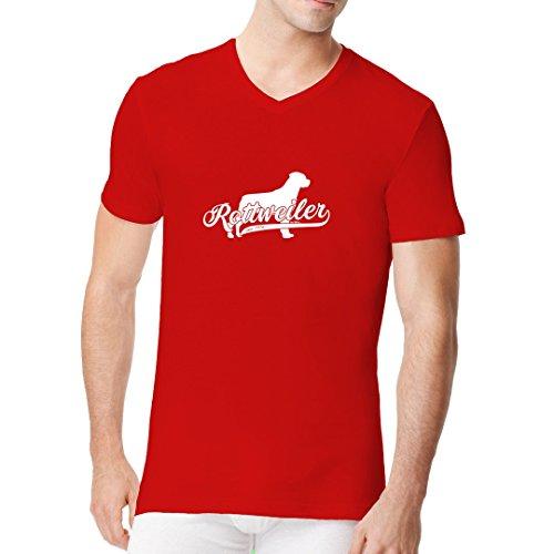 Im-Shirt - Rassehund Rottweiler (weiß) cooles Fun Men V-Neck - verschiedene Farben Rot