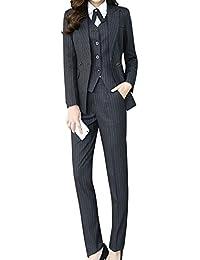 57f75dd2756 Women s Three Pieces Office Lady Stripe Blazer Business Suit Set Women Suits  Work Skirt Pant
