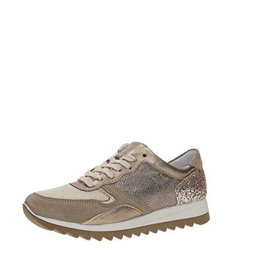IGI&CO 77713 sneakers scarpe donna scamosciate glitterate visone/oro visione/oro