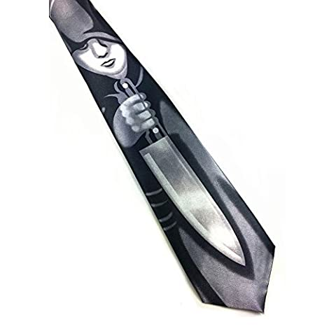 Z-P Mens & Womens Funny Halloween Party Black Print Necktie Knit Polyester Skinny Tie