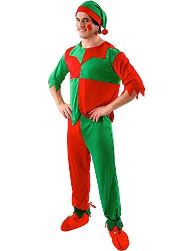 Mens christmas elf santas helper xmas outfit fancy dress costume standard