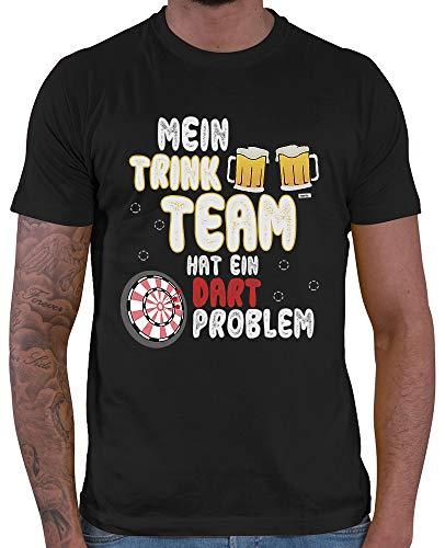 HARIZ  Herren T-Shirt Mein Trink Team Hat EIN Dartproblem 2 Dart Darten Dartscheibe Sport Fun Trikot Inkl. Geschenk Karte Schwarz XXL Bayern Tee-set