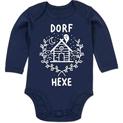 Shirtracer Anlässe Baby - Dorfhexe Halloween - 6-12 Monate - Navy Blau - BZ30 - Baby Body Langarm