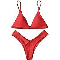 ZAFUL Mujer Sólido Tanga Corte Alto Bikini Conjuntos
