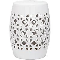 Safavieh EAC4508A Gartenhocker für Innen/Draußen, Glasierte Keramik, weiß, 33 x 33 x 46.99 cm