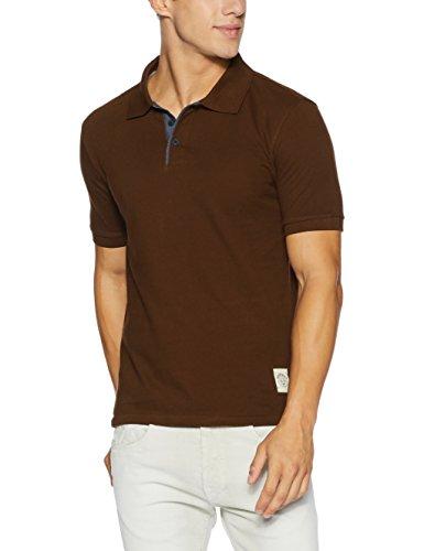 Symbol Men's Cotton Polo T-Shirt (AW17PLK62_XXL_Dark Earth)