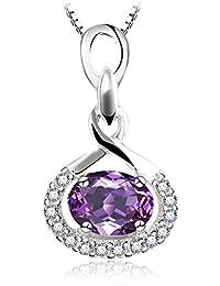 c984181ee8f4 JewelryPalace Entrelazado Amor Corazón Forma Auténtico Amatista infinito  Símbolo Colgante Plata de ley 925