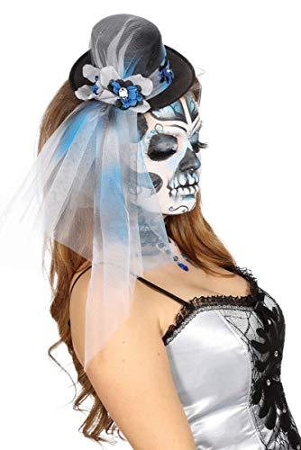 Wilbers Kostüm Zubehör Mini Hut Zylinder Totenkopf Zombie Braut Halloween (Kostüm Zubehör Halloween Braut)