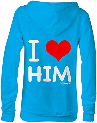 I Love Him ★ Confortable veste pour femmes ★ imprimé de haute qualité et slogan amusant ★ Le cadeau parfait en toute occasion hellblau