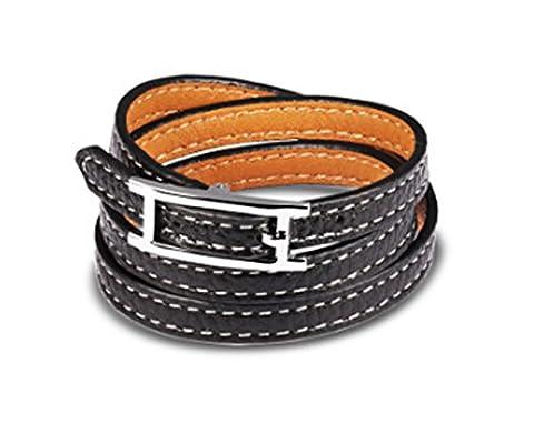 SaySure - Woman Leather Charm Bracelets Punk Style Three Layers
