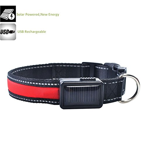Gopsyc verstellbarer Hundehalsband mit LED-Beleuchtung - Solarenergie und USB aufladbar - wasserdicht langlebig reflektierende Blinklicht Nylon Hundehalsband für Hund Nacht Sicherheit - rot, groß (Rosa Camo-diamant-ring)