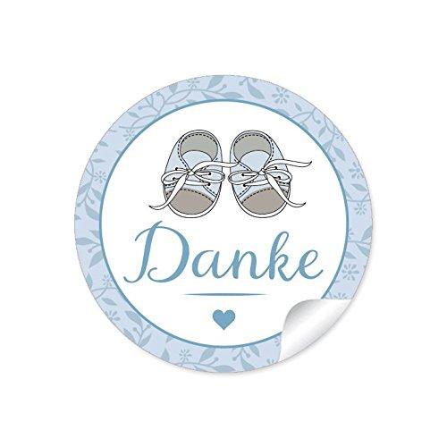 """24 STICKER:""""Danke"""" 24 Etiketten mit Babyschühchen für einen Jungen in blau • Zur Danksagung für Gastgeschenke oder Tischdeko zur Taufe u.v.m. • Papieraufkleber/Etiketten: 4 cm, rund, matt"""