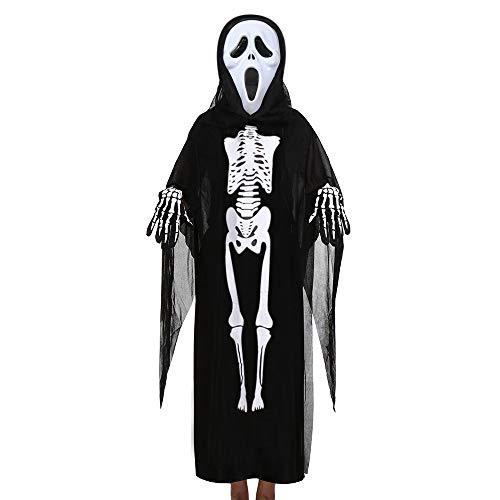 Kinder Kostüm Gruselig - Ansenesna Halloween Kostüm Mädchen Jungs Skelett Cosplay Gruselig Mantel + Maske + Handschuhe Outfits Set (A)