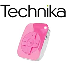 Technika 2GB Mini USB Portable MP3 Audio Clip-On Media Player - Rechargeable, Delivers Up to 8 Hours Playback and Stores Up to 600 Tracks - Hot Pink
