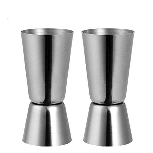 Jigger Spirituosen Barmaß Messbecher aus Edelstahl Dual 25/50 ml Maßnahme Cup für Bar Party Gin Wein Cocktail Messbecher cl Shaker (1 Messbecher 4-cup)