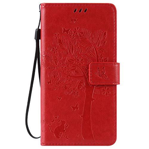 t Samsung Galaxy Note 4 Hülle, PU Leder Flip Cover Brieftasche Ledertasche Handyhülle Tasche Case Schutzhülle mit Handschlaufe Strap für Samsung Galaxy Note 4 - Baum Katze Rot ()