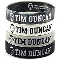 Lorh's store Basketball Tim Duncan Porträt Armband Nummer 21 Silikon Inspirierende Wort Sport Schweißbänder 4 Pcs