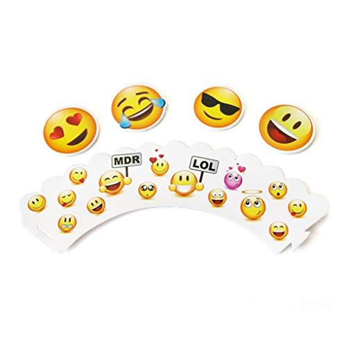 shyyymaoyi niedliche Emoji-Gesichtsformen, Papier-Kuchendekoration, für Kindergeburtstag, Party, Kuchen, Dekoration, 24 Stück Random Style