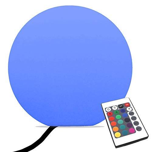 PK Green Erstklassige 40cm Stehlampe Modern Wohnzimmer Dimmbar Kugel | Bodenlampe LED mit Farbwechsel, Fernbedienung | Netzbetriebene Stimmungslampe RGB Rund | Kugelleuchte Leuchtobjekt Effektlampe