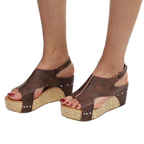 OYSOHE Sommer Sandalen, Frauen Runde Zehe Atmungs Rivet Strand Sandalen Boho Casual Keile Schuhe (Weiß Sneakers Rot Jungen)