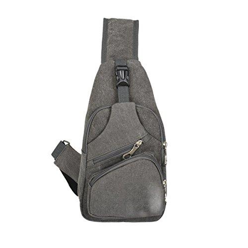 BULAGE Taschen Männer Leinwand Brusttasche Mode Trends Lässig Schulter Im Freien Rucksack Große Kapazität Reise Glanz Reiten Gray
