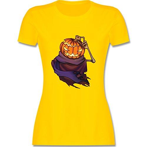 Halloween - Kürbiskopf - tailliertes Premium T-Shirt mit Rundhalsausschnitt für Damen Gelb