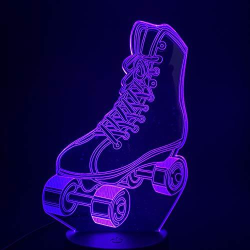 Skate roller shoes, illusion lamp 3D, 7 color gradient night light, LED visual light, children's bedside lamp (Roller Skate Tasten)