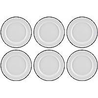 Juego de 6 platos llanos tradicionales esmaltados de Falcon, color blanco, 20 cm