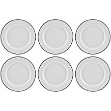 Set of 6 Traditional Falcon White Enamel Dinner Plate Roasting Baking (26cm) by Falcon