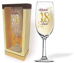 Idea Regalo - Flute in Vetro 18 ANNI - Bicchiere da vino, spumante o champagne - idea regalo scherzo gadget festa, party - Per il brindisi di Compleanno, anniversario ecc.