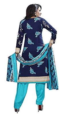 TASHVI CREATION Women's Faux Crepe Printed Salwar Suit (TC_0609, Blue, Free Size)