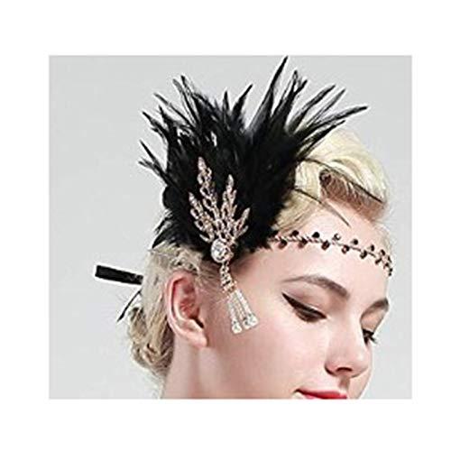 Epinki Damen 1920er Jahre Zubehör Set Flapper Kostüm Feder Blatt Quaste Stirnband 20s Kostüme Inspiriert Accessoires Schwarz