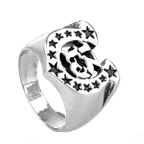 Beydodo Edelstahl Ring Herren Nummer 13 Sterne Alphabet Buchstabe U Freundschaftsring Silberring Größe 60 (19.1) Alphabet Vorhänge