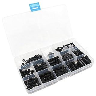 Xcellent Global 260Stk M3 Nylon Schrauben Hex Erweiterungen Muttern aus Kunststoff Sortiment Set, Schwarz PC030