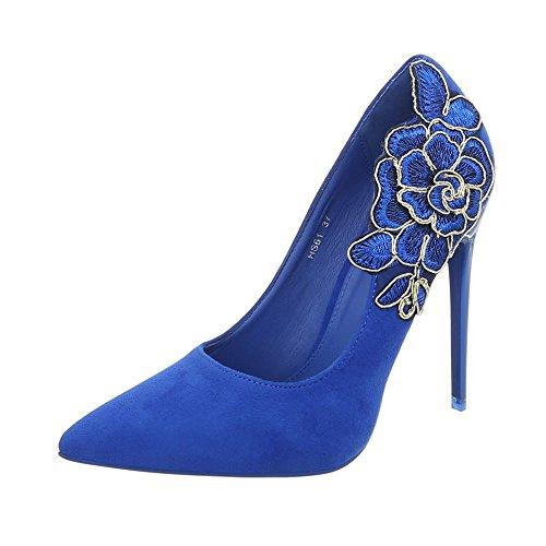 Bequeme High Heel-schuhe (Ital-Design High Heel Pumps Damen-Schuhe High Heel Pumps Pfennig-/Stilettoabsatz High Heels Pumps Blau, Gr 38, Hs61-)