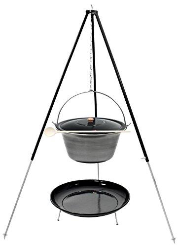 Grillplanet Gulaschkessel Dreibein Set (22 Liter Topf aus Eisen + Deckel + 1,80 m Dreibein + Feuerschale emailliert)