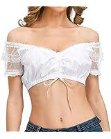 EisEyen Dirndlbluse weiß Damen Regular Fit Trachtenbluse Verschiedene Dirndlblusen Modelle aus Spitze und Baumwolle Dirndlblusen für Damen zum Festival